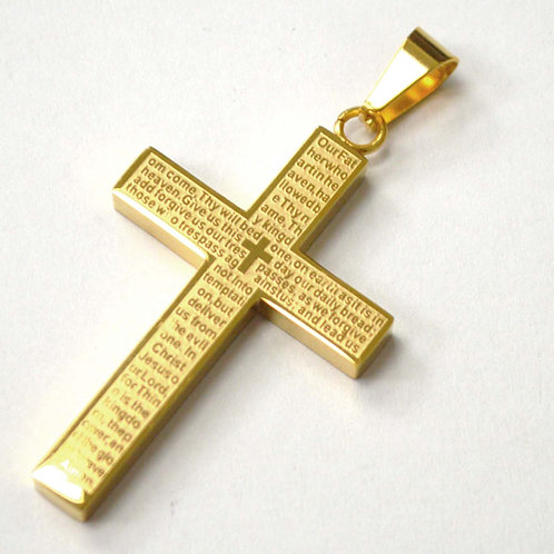 """""""The Lord's Prayer"""" Cross Gold Plated Pendant 86-2416G"""