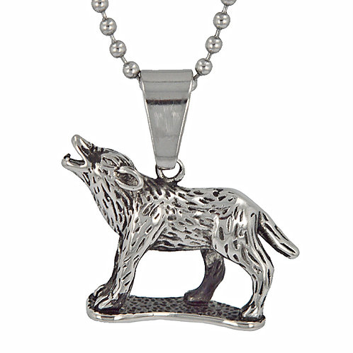 Howling Wolf Pendant Stainless Steel (34x25mm)