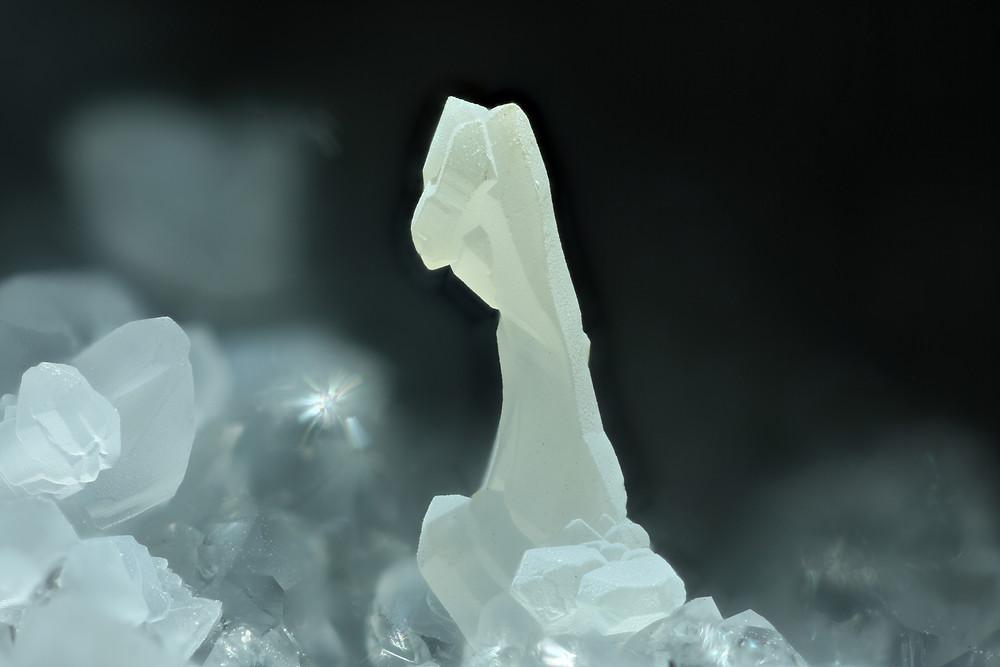 Severely distorted quartz crystal