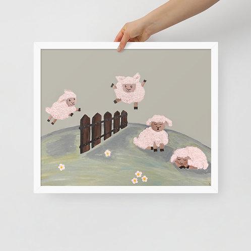 Jumping Sheep Framed poster