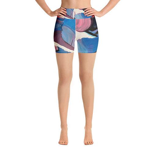 Abstract Mess Yoga Shorts