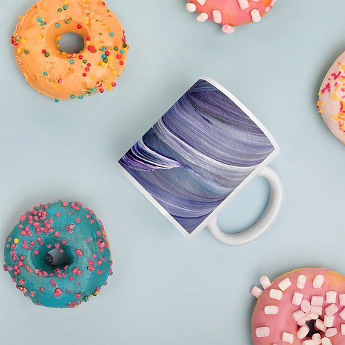 Painted On in Blue White glossy mug