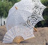Brautschirm und Faecher mit Spitze miete