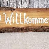 Holzschild _Willkommen_