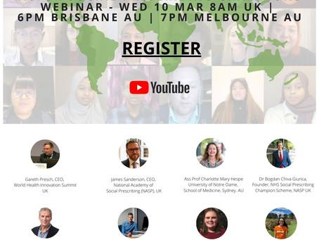 AU/UK Social Prescribing Webinar Wednesday 10th March 6pm Brisbane, 8am UK.