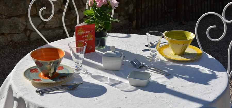 petits déjeuners dans le jardin