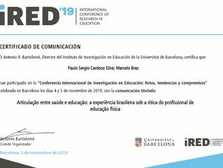 Apresentação na Conferência Internacional de Investigação em Educação, ocorrida em Barcelona