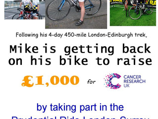 Help Mike on his bike raise £1,000 for CRUK