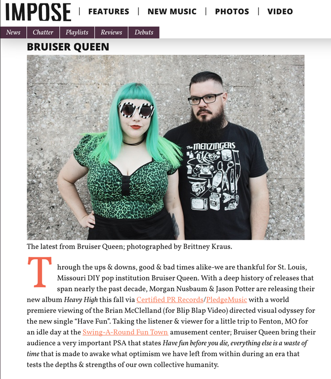 Bruiser Queen's Latest Blip Blap Video Premiere