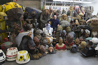 Neal Scanlan amongst all of the creatures and droids built for Star Wars EP VII: The Force Awakens