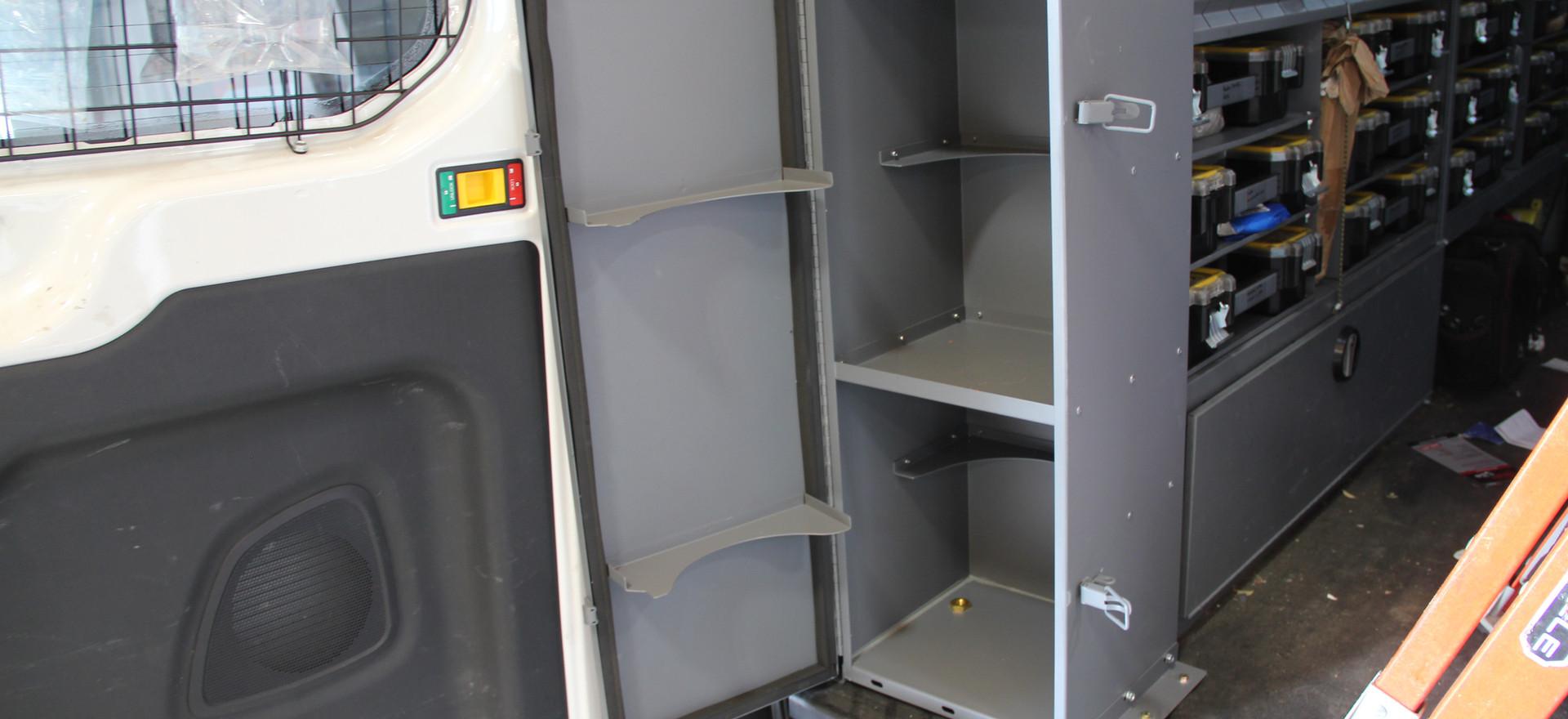 van shelving with rear facing cabinet.JP
