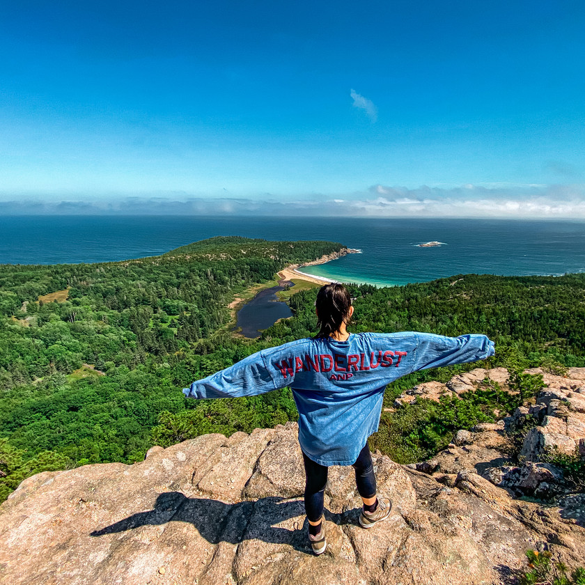View overlooking Sand Beach from the Beehive Loop Trail in Acadia National Park Maine by Biteinerary