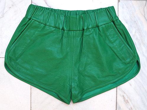 MOSS Copenhagen Grassgreen Leather Shorts