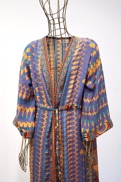 KAMALA KAFTAN Silk Mixed Pattern Caftan