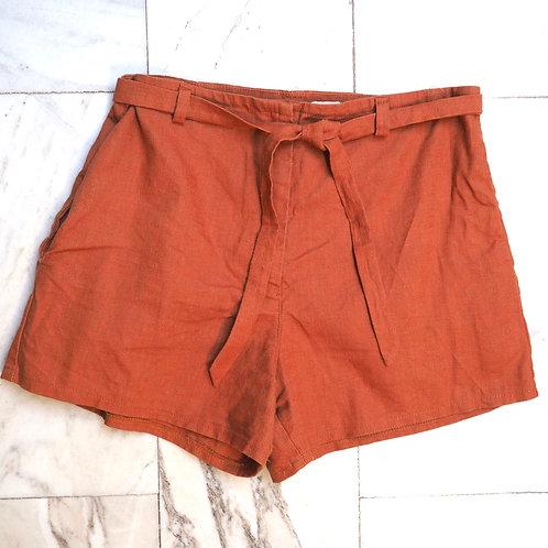 PRINTA Rust Linen Shorts