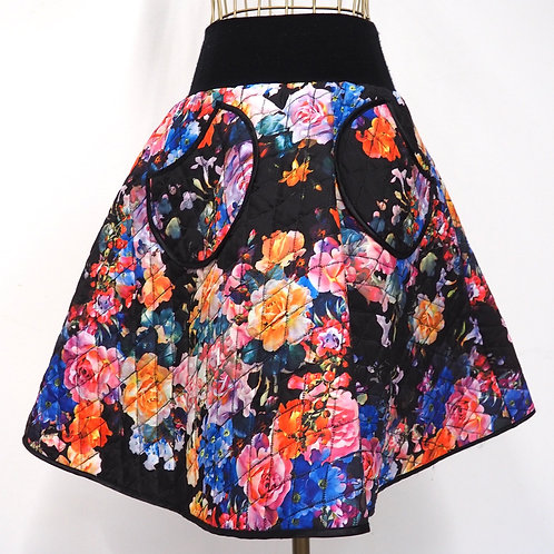 FARKAS IMOLA Quilted Floral A-line Skirt