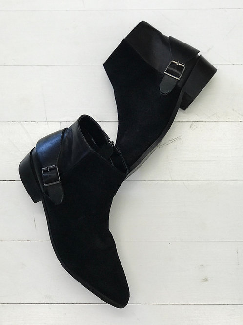 Mango Canvas Leather Ankleboots