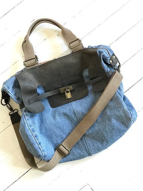 Denim Upcycle Leather Bag