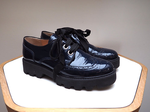 MUSETTE Navy Patent Oxford Shoes