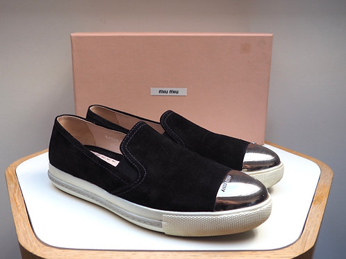 MIU MIU Leather Slip on with Silver Detail
