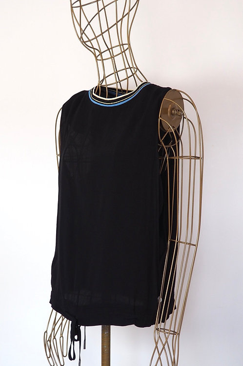 PEPE JEANS Black Top with Contrast Neckline