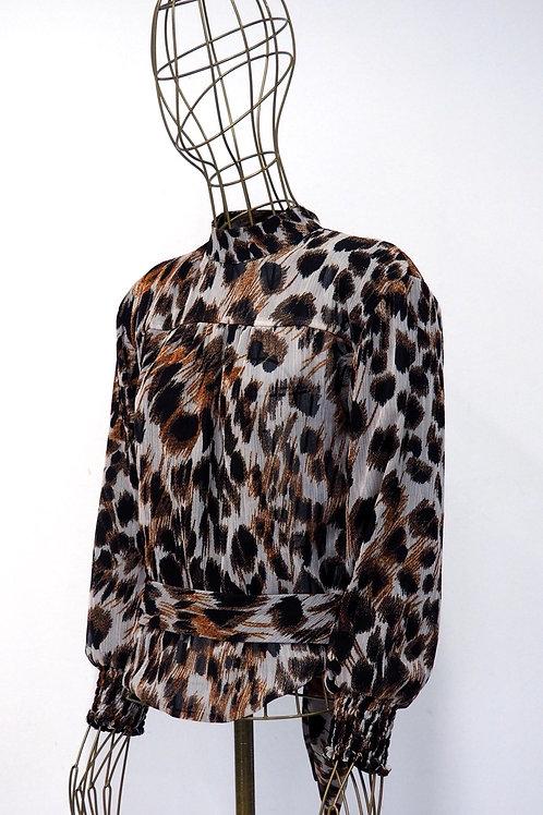 NANUSHKA Open Back Leopard Blouse