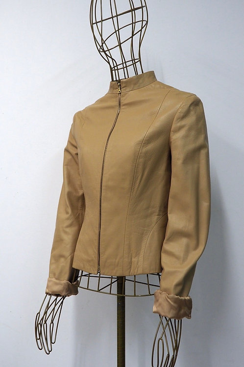 MANGO Cream Leather Jacket