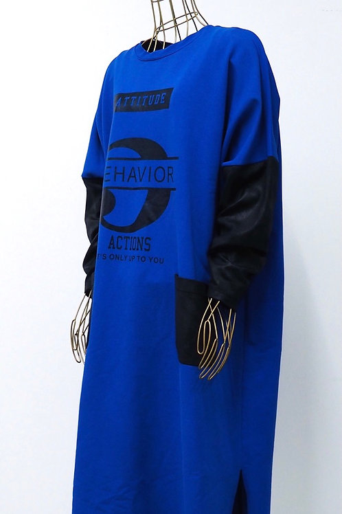 OVERSIZED Electricblue/Black Sweater Dress