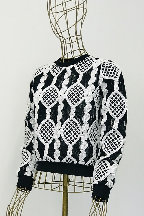 Reserved Lace Sweater with Crochet Details