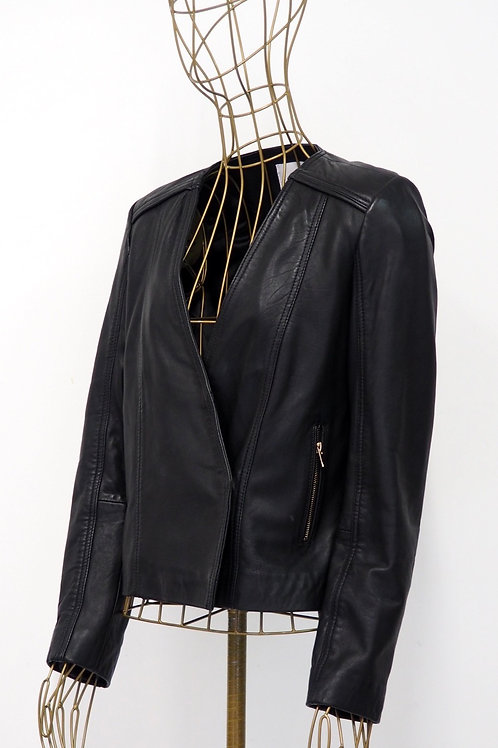 MANGO Black Leather Blazer