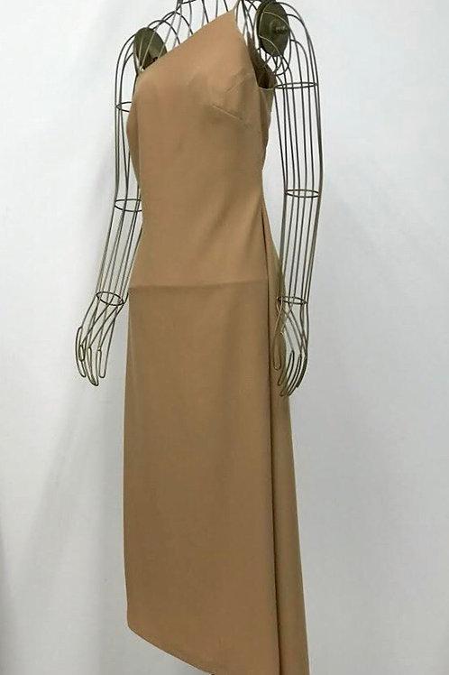 Asymmetric Clean Brown Dress