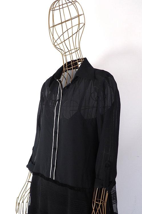CELENI Seetrough Buttoned Dress