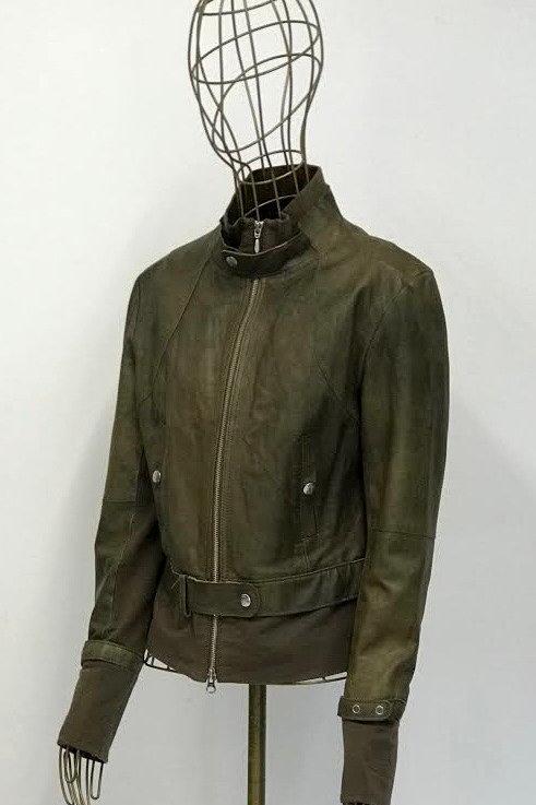 GinGer Olive Leather Jacket