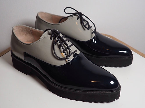 MUSETTE Patent Grey/Navy Oxford Shoes