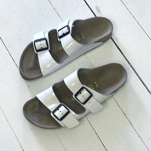 BIRKENSTOCK White Lack Slippers