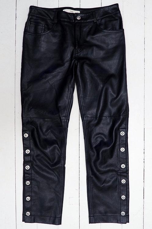 MANGO Faux Leather Buttoned Pants