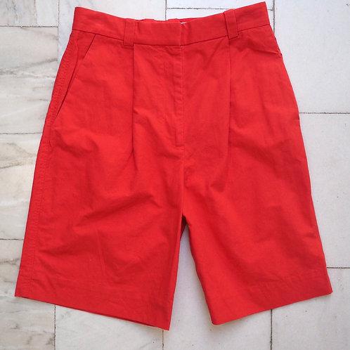 COS Red Cotton Bermuda Shorts