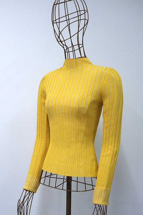 &OTHERSTORIES Ribbed Yellow Turtleneck Top