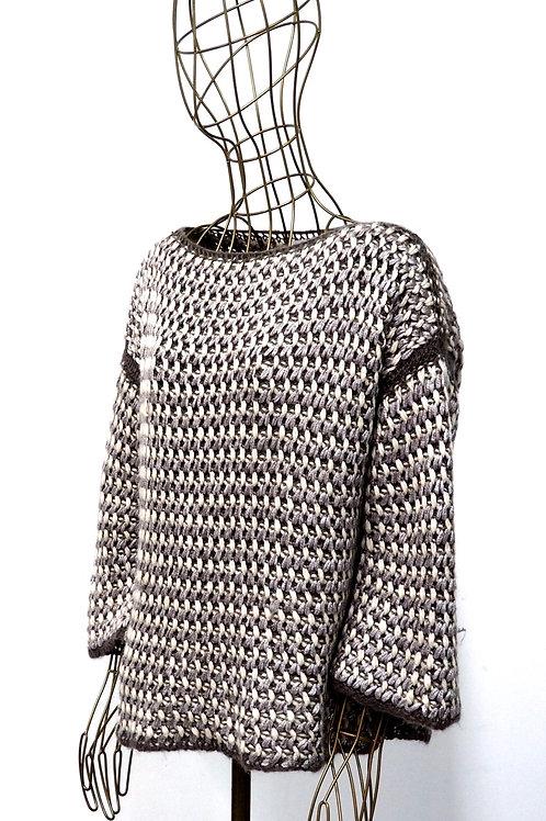 BENETTON Silver/Brown Knitwear