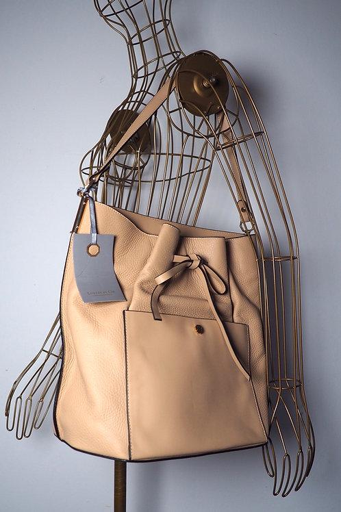 LOUISE ET CIE Beige Leather Bucket Bag