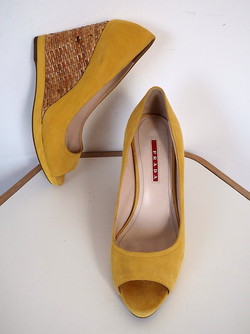 PRADA Suede Leather Yellow Wedges