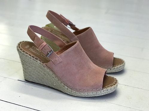 TOMS Pastel Pink Leather Wedges