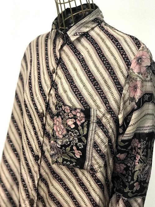 KAMALA KAFTAN Flower Silk Shirtdress