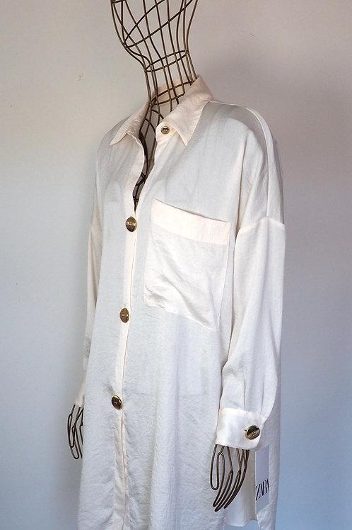 ZARA Shiny Shirtdress with Golden Buttons