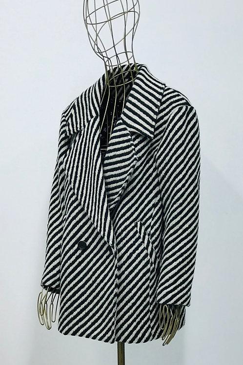 Maison Scotch Striped Wool Coat