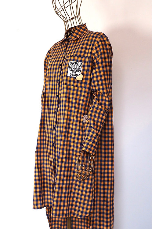 MISS CITY Checked Shirtdress