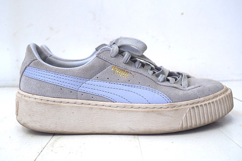 PUMA Grey/Blue Suede Leather Sneakers