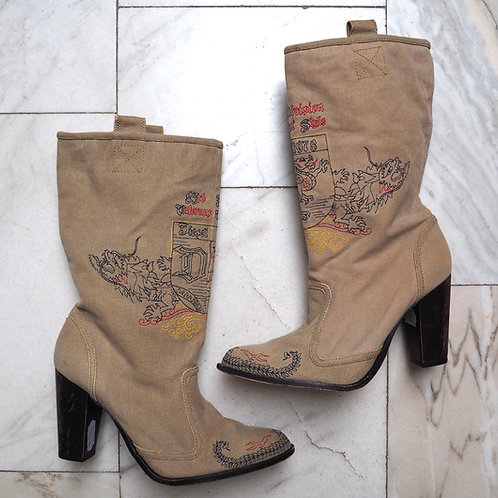 DIESEL Embroidered Canvas Boots