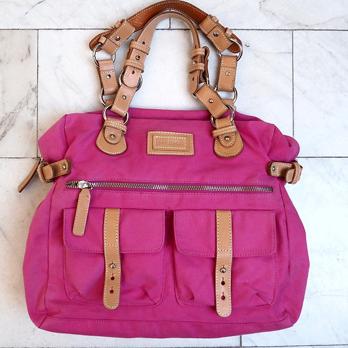 MAX&CO Pink Canvas/Leather Messenger Bag