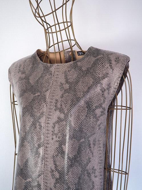 ZARA Snakeprint Top with Shoulder pads